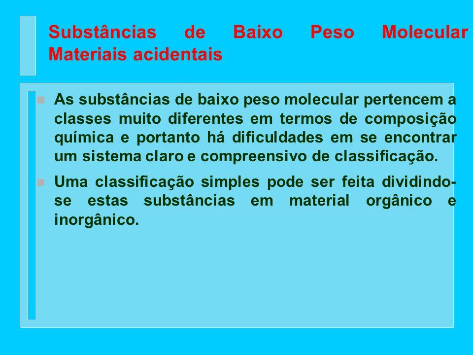 Substâncias de Baixo Peso Molecular Materiais acidentais n Estes materiais são responsáveis muitas vezes por certas propriedades da madeira como: chei
