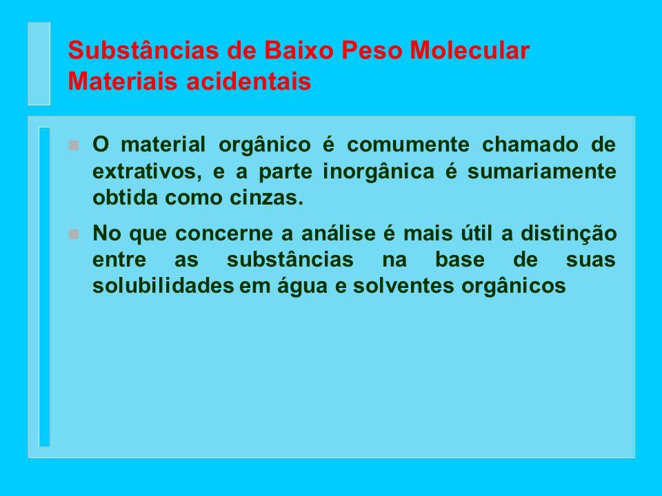Substâncias de Baixo Peso Molecular Materiais acidentais n As substâncias de baixo peso molecular pertencem a classes muito diferentes em termos de co