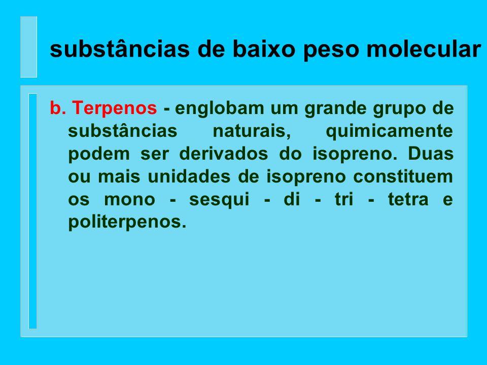 Os principais grupos químicos que compreendem as substâncias de baixo peso molecular são: a. Compostos aromáticos (fenólicos) - as substâncias mais im