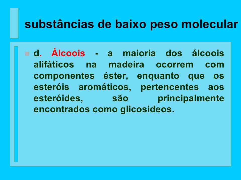 n c. Ácidos alifáticos - ácidos graxos saturados e insaturados são encontrados na madeira principalmente na forma dos seus ésteres com glicerol (gordu