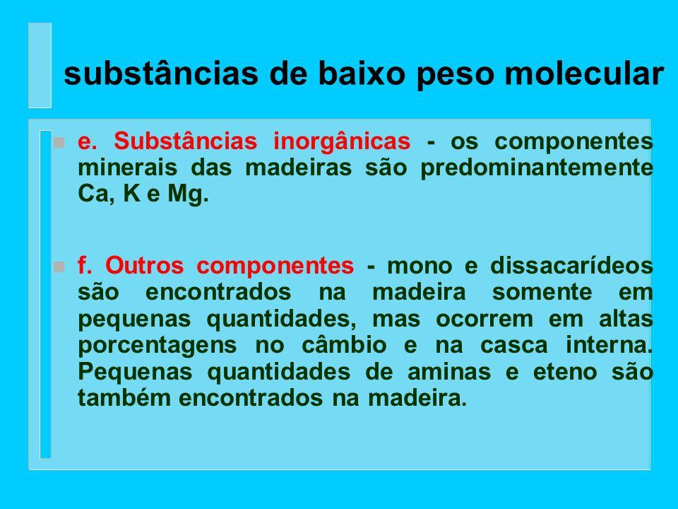 n d. Álcoois - a maioria dos álcoois alifáticos na madeira ocorrem com componentes éster, enquanto que os esteróis aromáticos, pertencentes aos esteró
