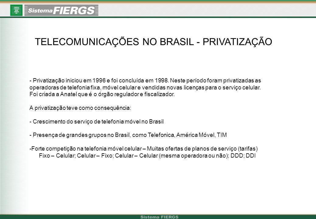 TELECOMUNICAÇÕES NO BRASIL - PRIVATIZAÇÃO - Privatização iniciou em 1996 e foi concluída em 1998. Neste período foram privatizadas as operadoras de te
