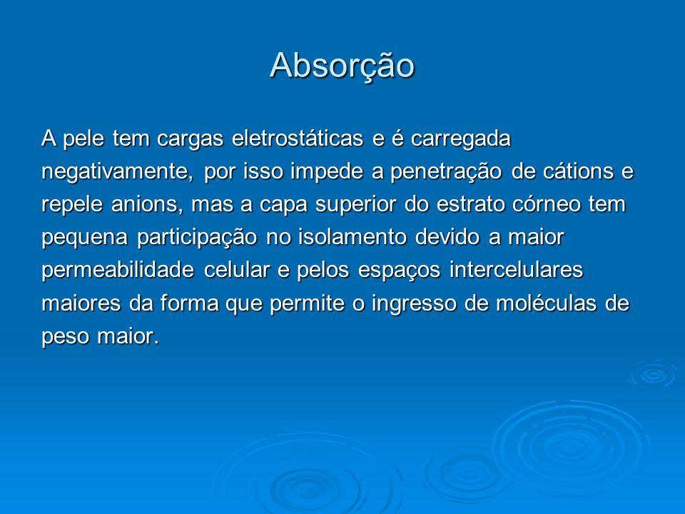 Absorção A pele tem cargas eletrostáticas e é carregada negativamente, por isso impede a penetração de cátions e repele anions, mas a capa superior do