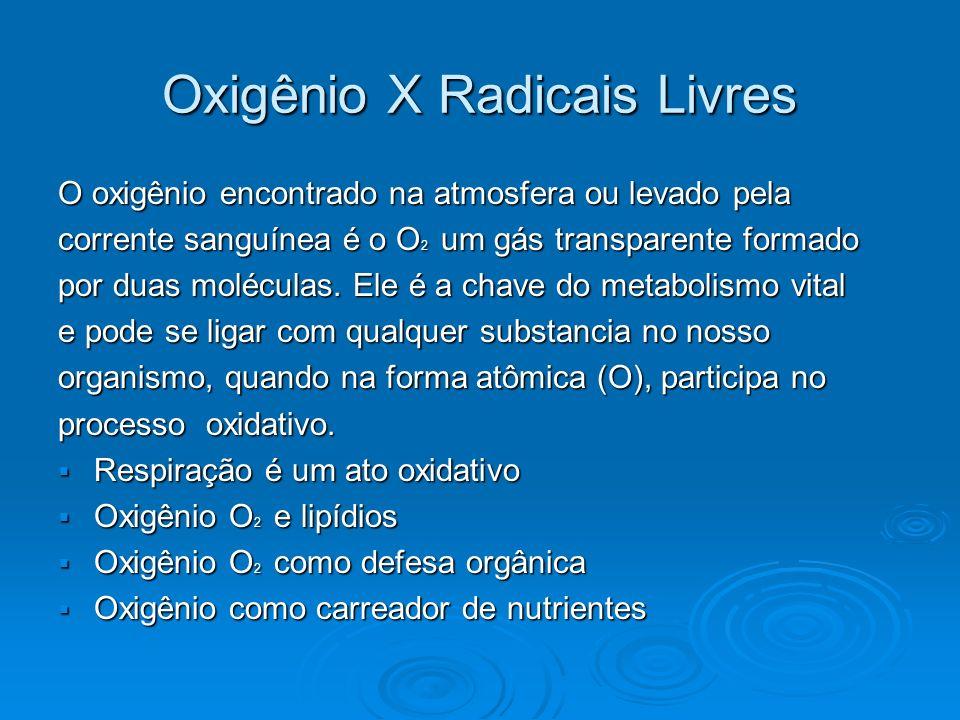 Oxigênio X Radicais Livres O oxigênio encontrado na atmosfera ou levado pela corrente sanguínea é o O 2 um gás transparente formado por duas moléculas