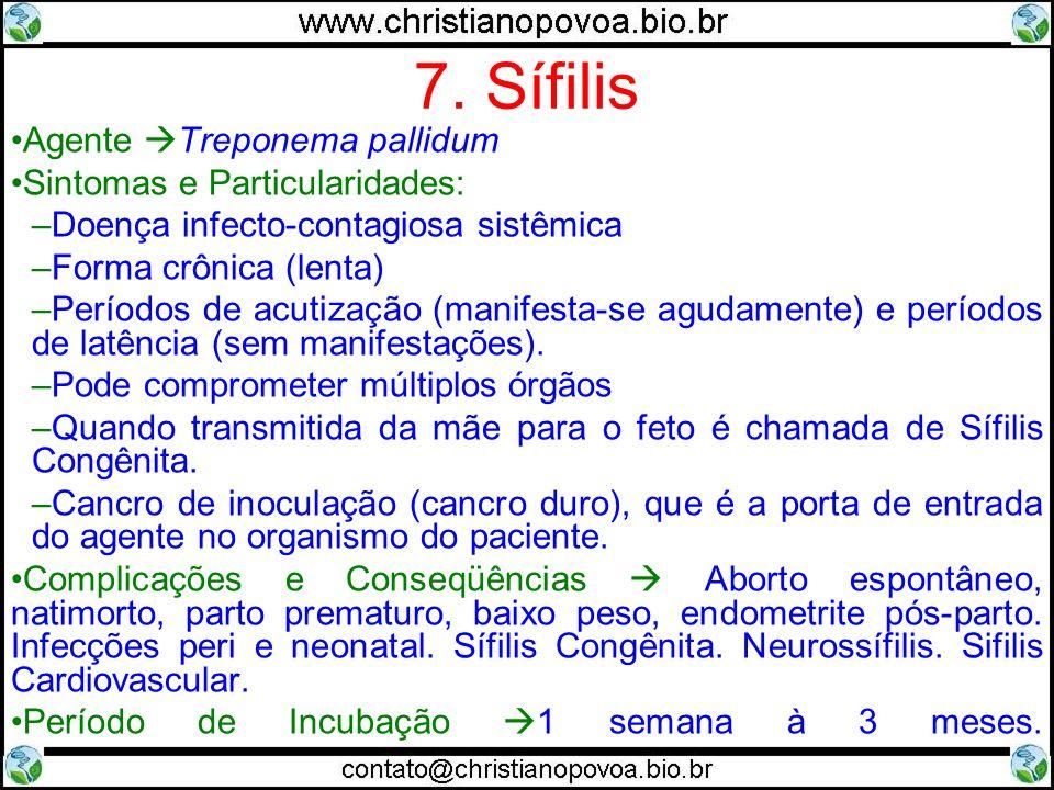 7. Sífilis Agente Treponema pallidum Sintomas e Particularidades: –Doença infecto-contagiosa sistêmica –Forma crônica (lenta) –Períodos de acutização