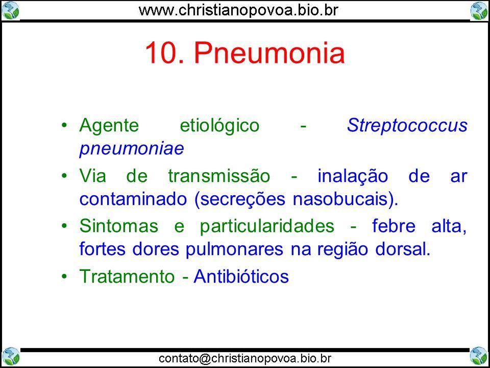 10. Pneumonia Agente etiológico - Streptococcus pneumoniae Via de transmissão - inalação de ar contaminado (secreções nasobucais). Sintomas e particul