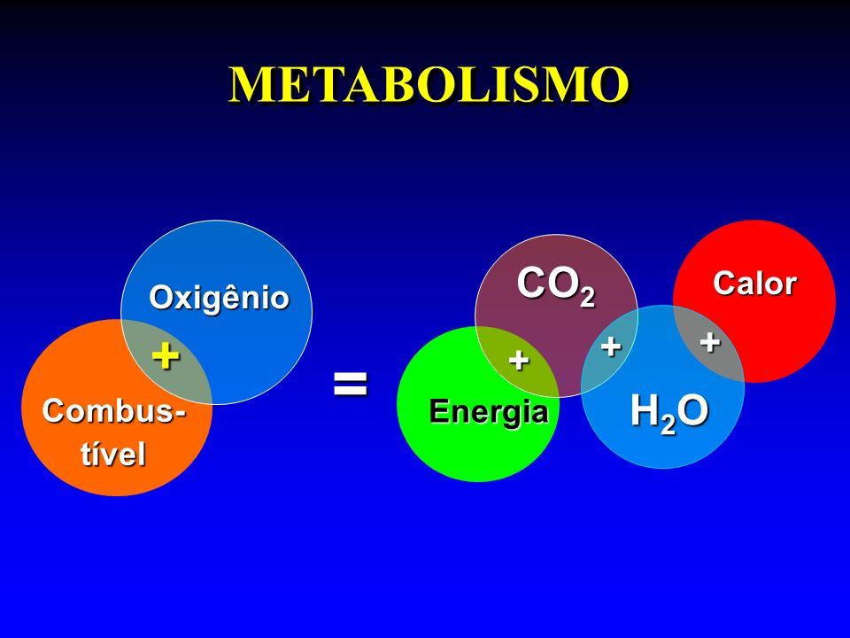 Calor = METABOLISMOMETABOLISMO Combus- tível Oxigênio Energia CO 2 H2OH2OH2OH2O + + + +