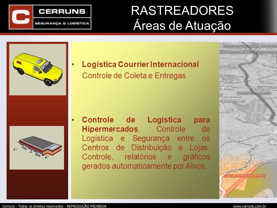RASTREADORES Áreas de Atuação Logística Courrier Internacional Controle de Coleta e Entregas Controle de Logística para Hipermercados. Controle de Log