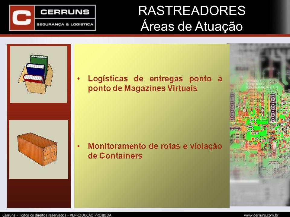Logísticas de entregas ponto a ponto de Magazines Virtuais Monitoramento de rotas e violação de Containers RASTREADORES Áreas de Atuação