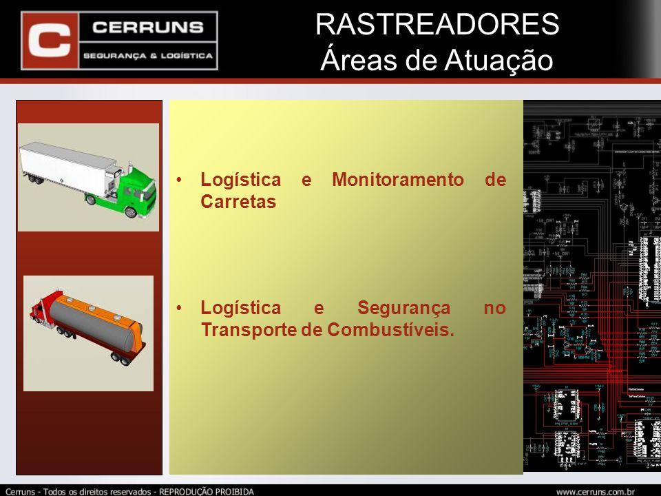 Logística e Monitoramento de Carretas Logística e Segurança no Transporte de Combustíveis. RASTREADORES Áreas de Atuação