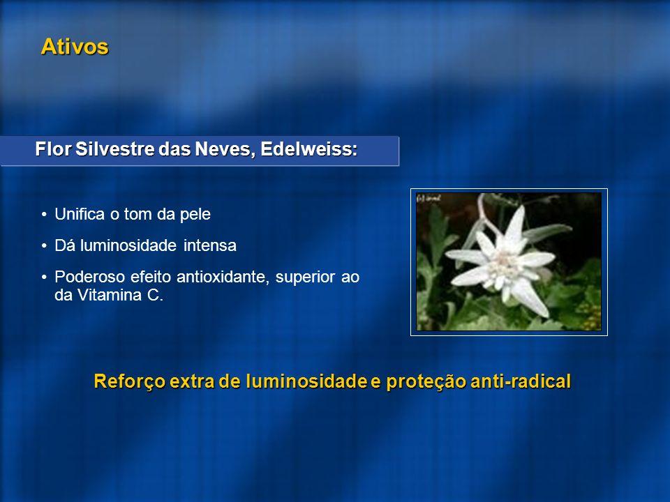Flor Silvestre das Neves, Edelweiss: Unifica o tom da pele Dá luminosidade intensa Poderoso efeito antioxidante, superior ao da Vitamina C.
