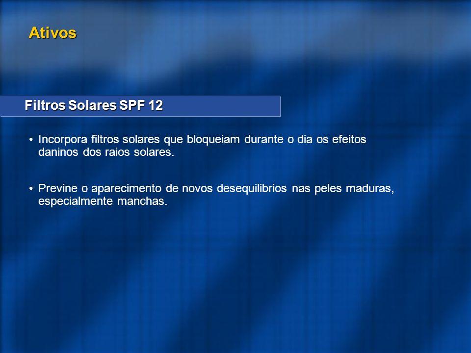 Filtros Solares SPF 12 Incorpora filtros solares que bloqueiam durante o dia os efeitos daninos dos raios solares. Previne o aparecimento de novos des