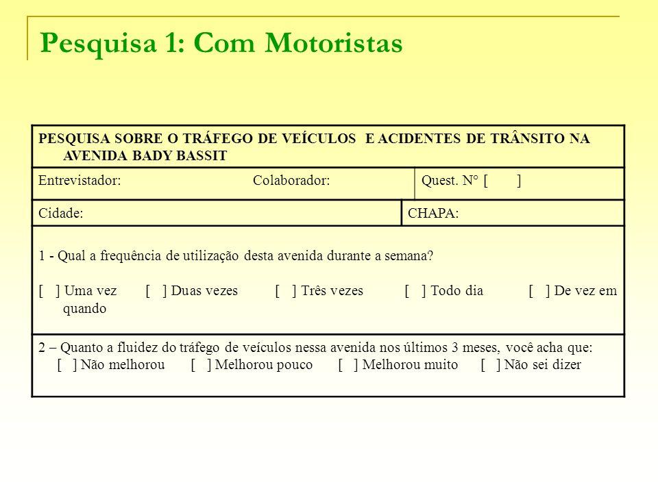 Pesquisa 1: Com Motoristas PESQUISA SOBRE O TRÁFEGO DE VEÍCULOS E ACIDENTES DE TRÂNSITO NA AVENIDA BADY BASSIT Entrevistador: Colaborador:Quest. N° [