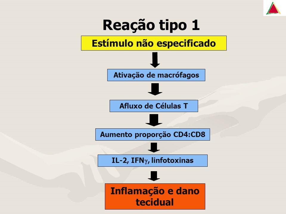 Reação tipo 1 Estímulo não especificado Ativação de macrófagos Afluxo de Células T Aumento proporção CD4:CD8 IL-2, IFN, linfotoxinas Inflamação e dano tecidual