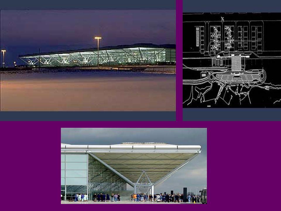 London´s Third Airport Stansted Essex, Inglaterra 1987-1991 Possui um único piso para passageiros. Área de 85 700 m2 Altura exterior de 15 m inserido