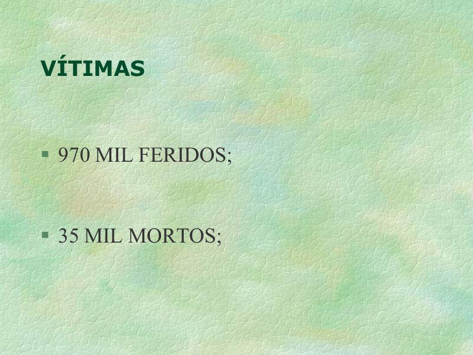 Brasil X EUA §População 170- 274 (milhões) §Frota35-213(milhões) §Acidentes???-6,4(milhões) §Mortos35-42(mil) §Feridos970-3189(mil) §IM10-1,9(/10 mil V.) §IF359-150(/10 mil V.)