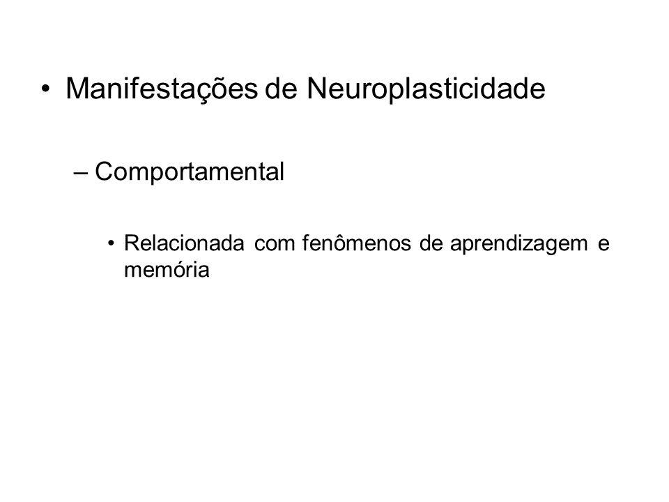 Manifestações de Neuroplasticidade –Comportamental Relacionada com fenômenos de aprendizagem e memória