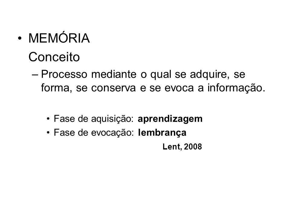 MEMÓRIA Conceito –Processo mediante o qual se adquire, se forma, se conserva e se evoca a informação. Fase de aquisição: aprendizagem Fase de evocação