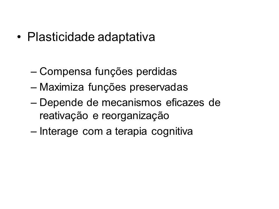 Plasticidade adaptativa –Compensa funções perdidas –Maximiza funções preservadas –Depende de mecanismos eficazes de reativação e reorganização –Intera
