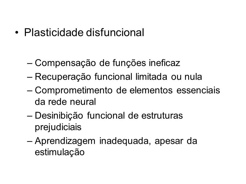 Plasticidade disfuncional –Compensação de funções ineficaz –Recuperação funcional limitada ou nula –Comprometimento de elementos essenciais da rede neural –Desinibição funcional de estruturas prejudiciais –Aprendizagem inadequada, apesar da estimulação