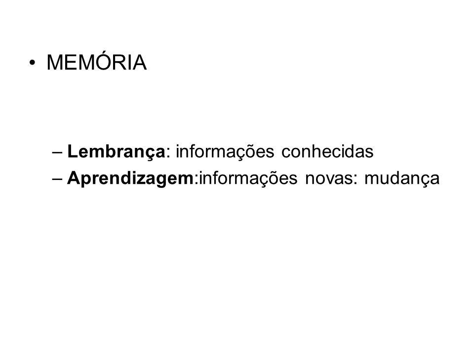 MEMÓRIA –Lembrança: informações conhecidas –Aprendizagem:informações novas: mudança