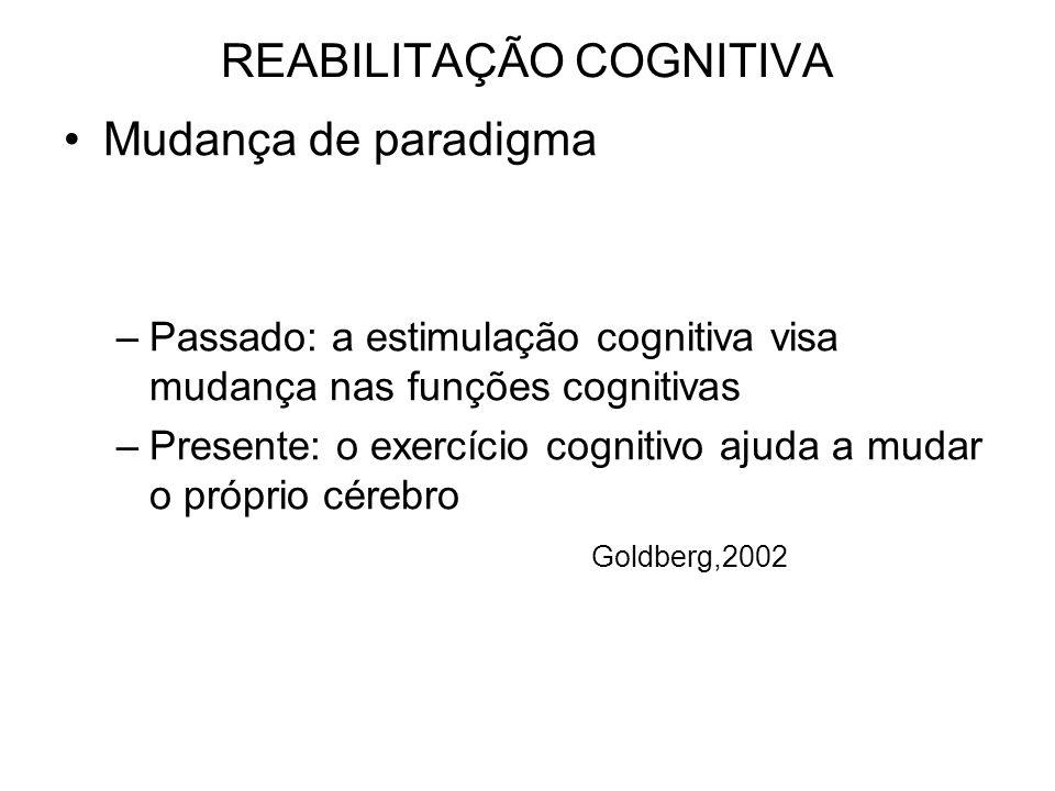 REABILITAÇÃO COGNITIVA Mudança de paradigma –Passado: a estimulação cognitiva visa mudança nas funções cognitivas –Presente: o exercício cognitivo ajuda a mudar o próprio cérebro Goldberg,2002