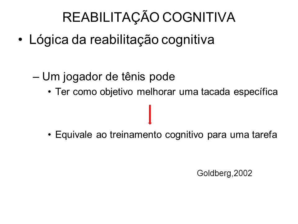 REABILITAÇÃO COGNITIVA Lógica da reabilitação cognitiva –Um jogador de tênis pode Ter como objetivo melhorar uma tacada específica Equivale ao treinamento cognitivo para uma tarefa Goldberg,2002