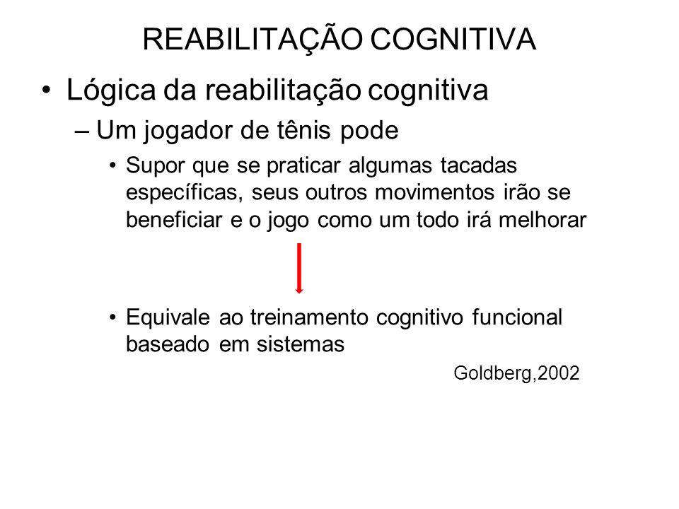 REABILITAÇÃO COGNITIVA Lógica da reabilitação cognitiva –Um jogador de tênis pode Supor que se praticar algumas tacadas específicas, seus outros movimentos irão se beneficiar e o jogo como um todo irá melhorar Equivale ao treinamento cognitivo funcional baseado em sistemas Goldberg,2002