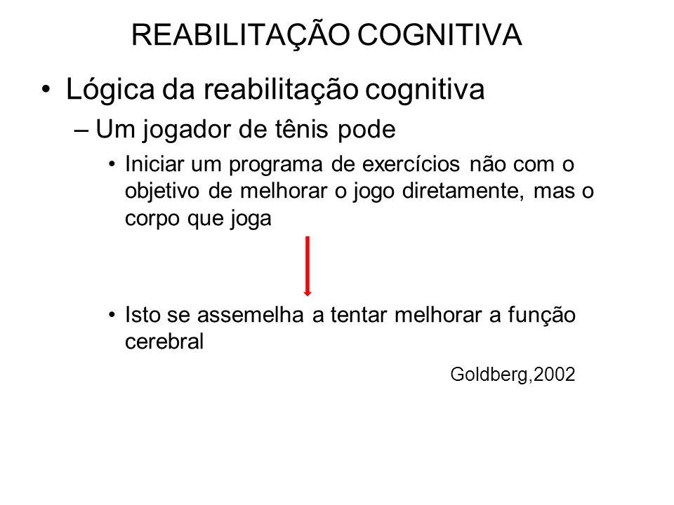 REABILITAÇÃO COGNITIVA Lógica da reabilitação cognitiva –Um jogador de tênis pode Iniciar um programa de exercícios não com o objetivo de melhorar o jogo diretamente, mas o corpo que joga Isto se assemelha a tentar melhorar a função cerebral Goldberg,2002