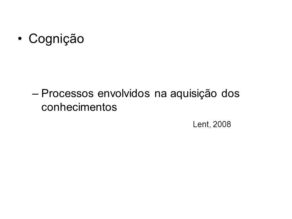 Cognição –Processos envolvidos na aquisição dos conhecimentos Lent, 2008