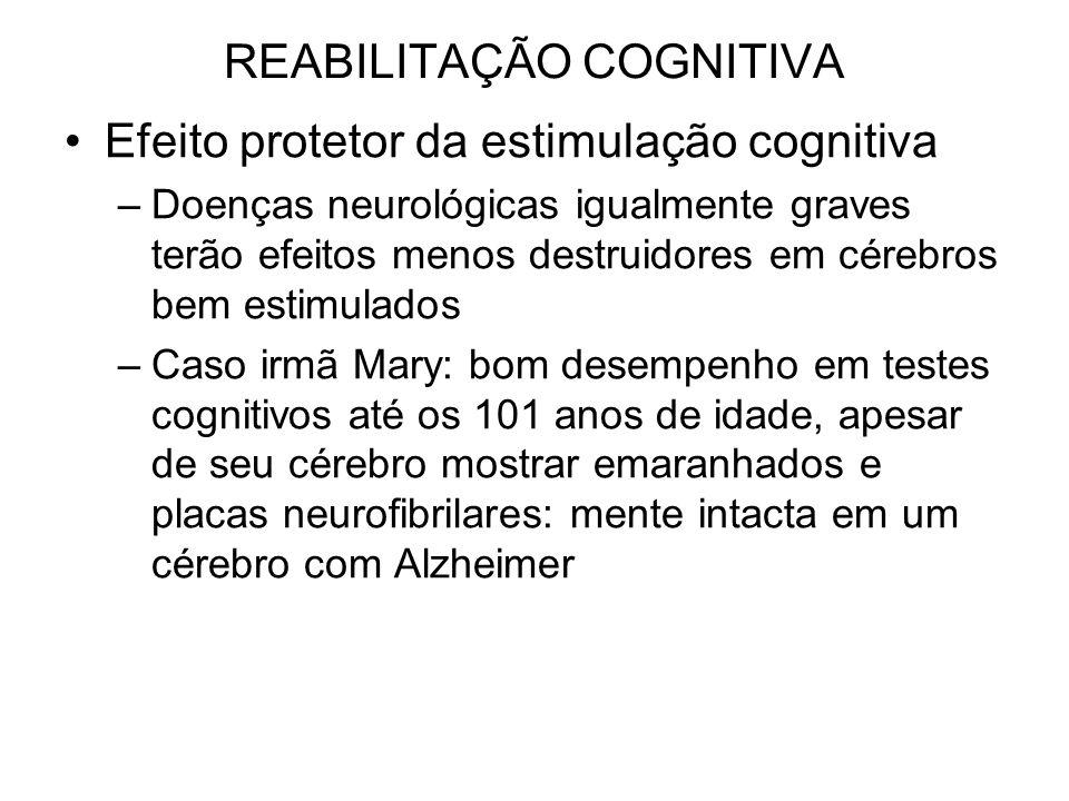 REABILITAÇÃO COGNITIVA Efeito protetor da estimulação cognitiva –Doenças neurológicas igualmente graves terão efeitos menos destruidores em cérebros b