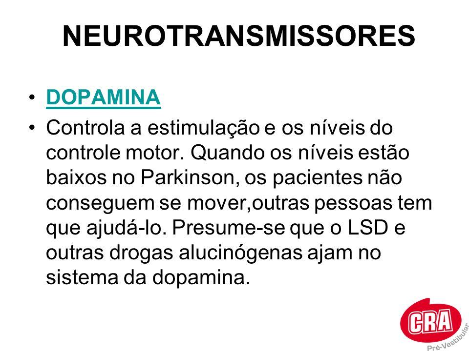 NEUROTRANSMISSORES DOPAMINA Controla a estimulação e os níveis do controle motor. Quando os níveis estão baixos no Parkinson, os pacientes não consegu