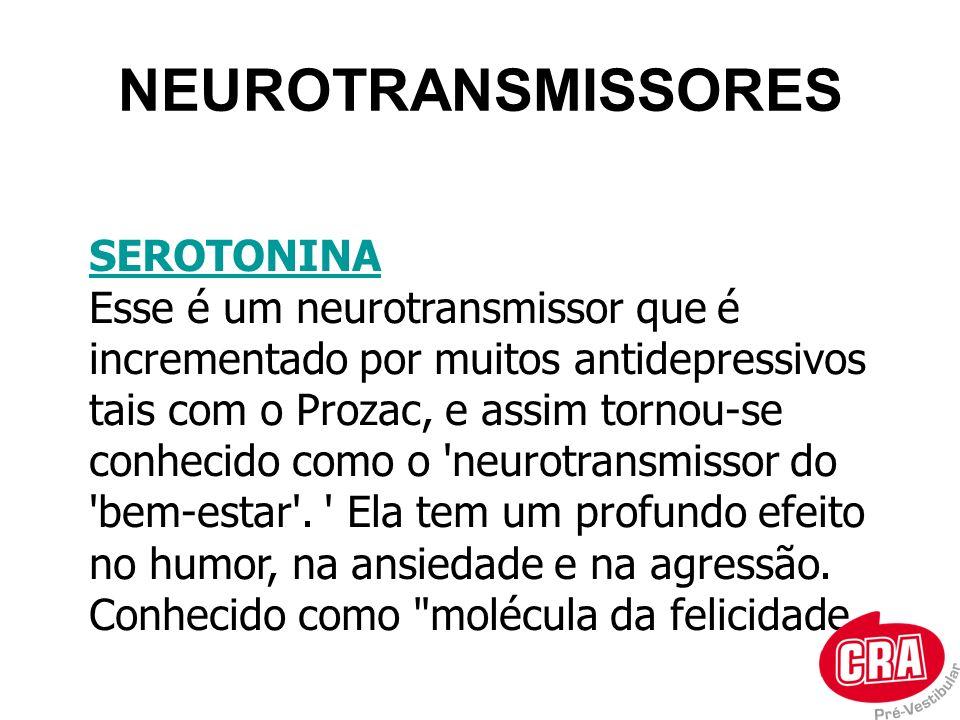 NEUROTRANSMISSORES SEROTONINA Esse é um neurotransmissor que é incrementado por muitos antidepressivos tais com o Prozac, e assim tornou-se conhecido