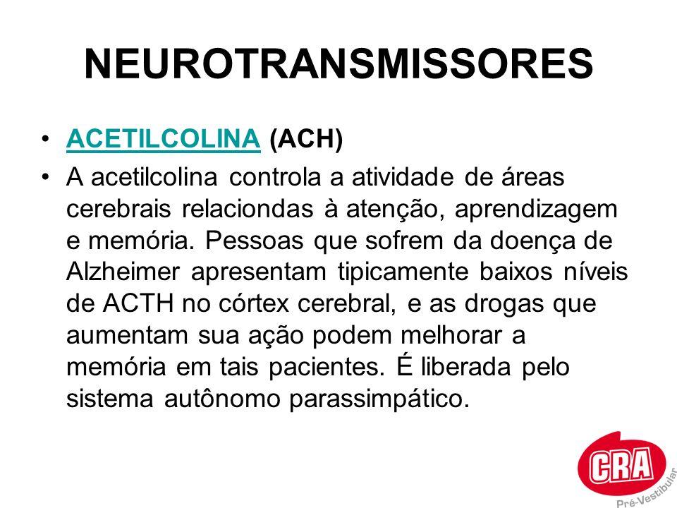 ACETILCOLINA (ACH)ACETILCOLINA A acetilcolina controla a atividade de áreas cerebrais relaciondas à atenção, aprendizagem e memória. Pessoas que sofre