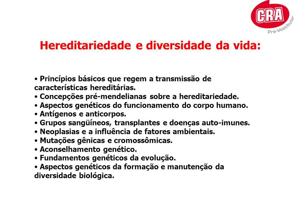 Hereditariedade e diversidade da vida: Princípios básicos que regem a transmissão de características hereditárias. Concepções pré-mendelianas sobre a