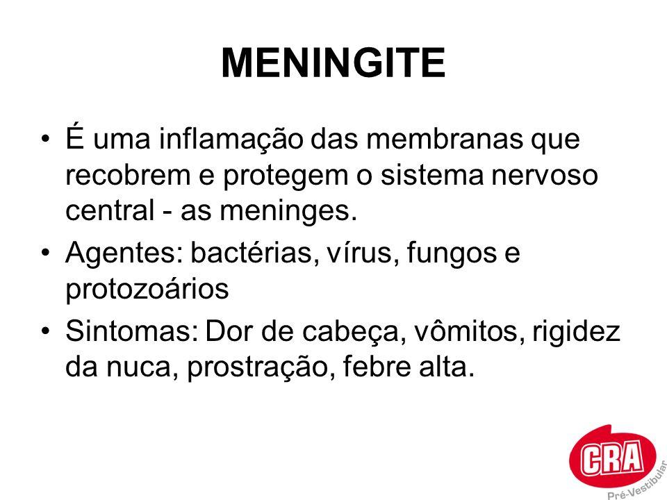 MENINGITE É uma inflamação das membranas que recobrem e protegem o sistema nervoso central - as meninges. Agentes: bactérias, vírus, fungos e protozoá