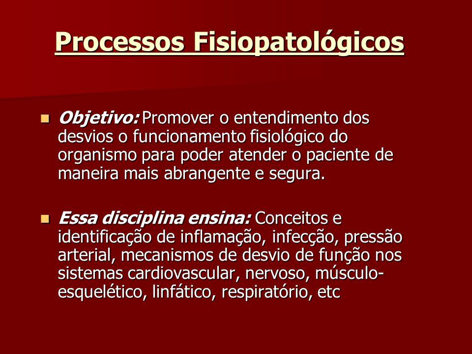 Processos Fisiopatológicos Objetivo: Promover o entendimento dos desvios o funcionamento fisiológico do organismo para poder atender o paciente de man