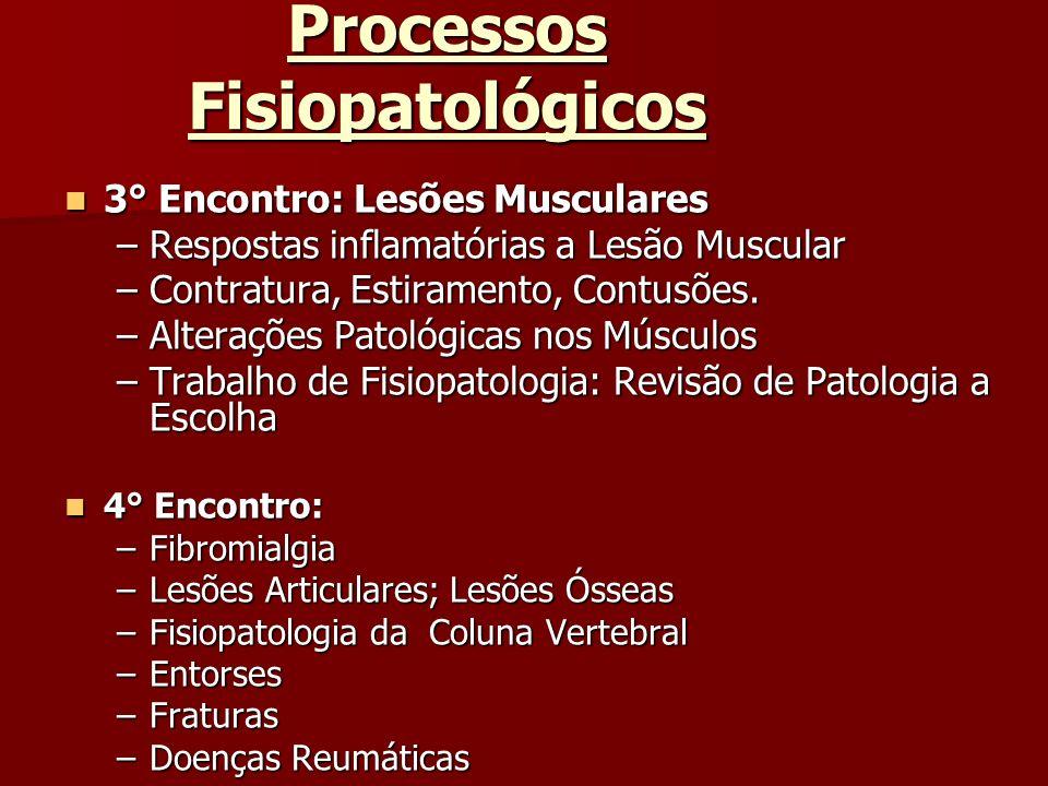 Processos Fisiopatológicos 3° Encontro: Lesões Musculares 3° Encontro: Lesões Musculares –Respostas inflamatórias a Lesão Muscular –Contratura, Estira