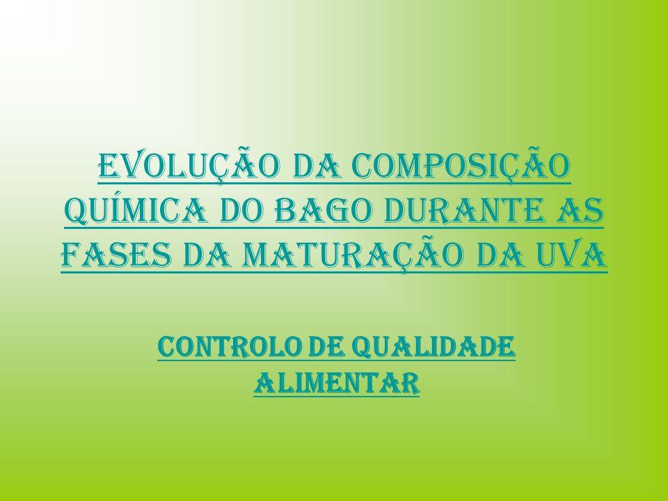 Evolução da Composição química do Bago durante as Fases da Maturação da Uva Controlo de Qualidade Alimentar