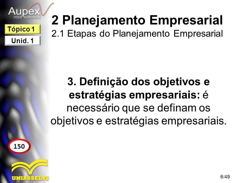 2 Planejamento Empresarial 2.1 Etapas do Planejamento Empresarial 3. Definição dos objetivos e estratégias empresariais: é necessário que se definam o