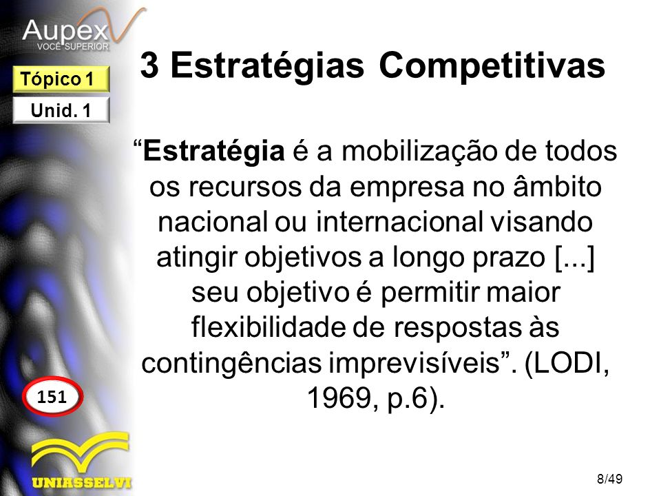 3 Estratégias Competitivas Estratégia é a mobilização de todos os recursos da empresa no âmbito nacional ou internacional visando atingir objetivos a