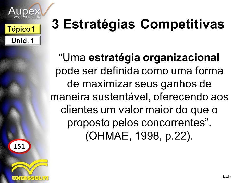 3 Estratégias Competitivas Uma estratégia organizacional pode ser definida como uma forma de maximizar seus ganhos de maneira sustentável, oferecendo