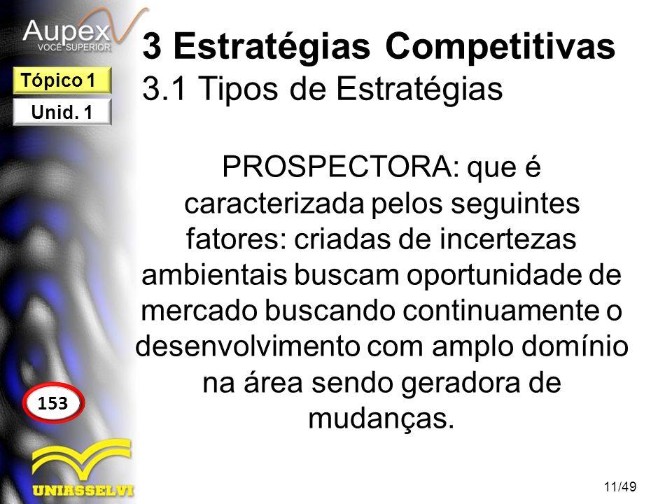 3 Estratégias Competitivas 3.1 Tipos de Estratégias PROSPECTORA: que é caracterizada pelos seguintes fatores: criadas de incertezas ambientais buscam