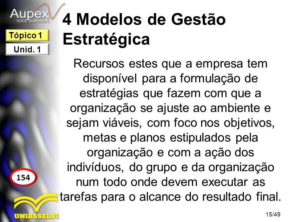 4 Modelos de Gestão Estratégica Recursos estes que a empresa tem disponível para a formulação de estratégias que fazem com que a organização se ajuste