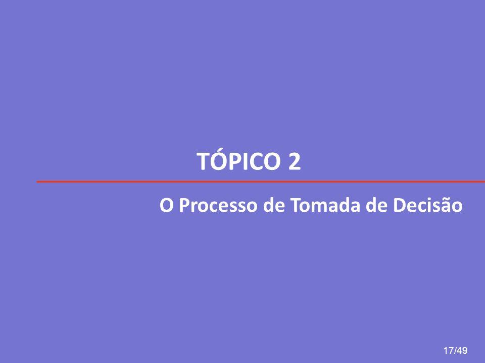 TÓPICO 2 17/49 O Processo de Tomada de Decisão