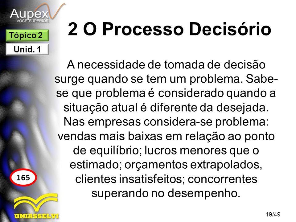 2 O Processo Decisório A necessidade de tomada de decisão surge quando se tem um problema. Sabe- se que problema é considerado quando a situação atual