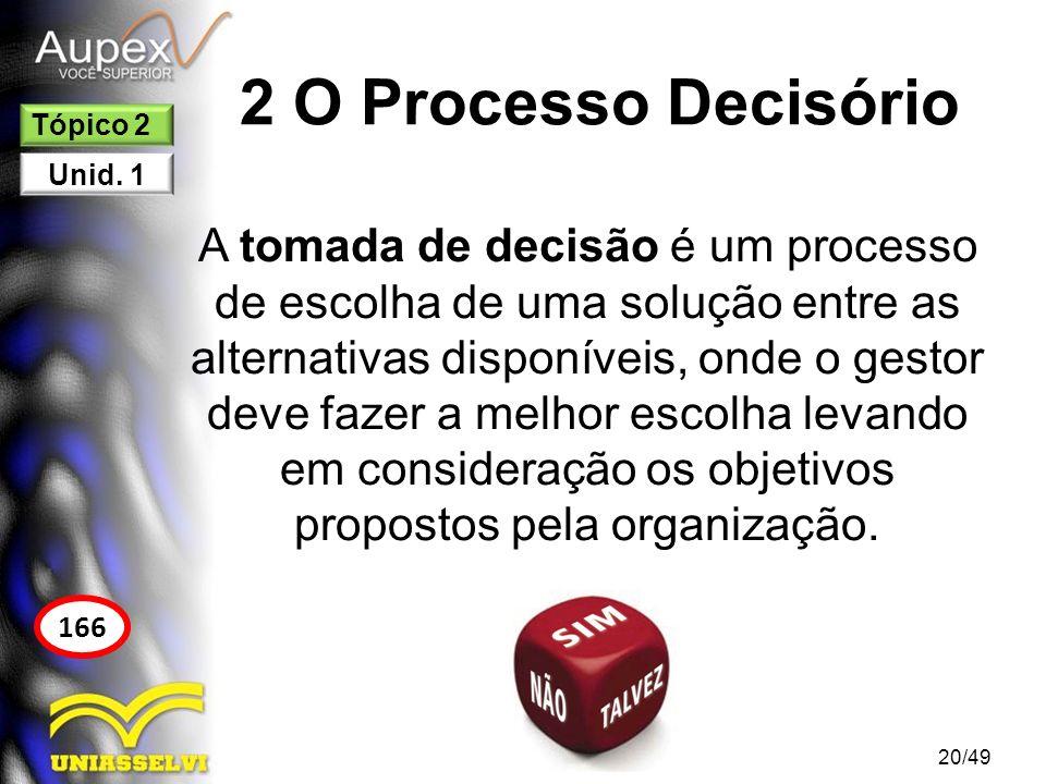 2 O Processo Decisório A tomada de decisão é um processo de escolha de uma solução entre as alternativas disponíveis, onde o gestor deve fazer a melho