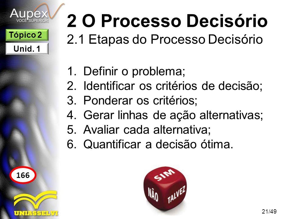 2 O Processo Decisório 2.1 Etapas do Processo Decisório 1.Definir o problema; 2.Identificar os critérios de decisão; 3.Ponderar os critérios; 4.Gerar