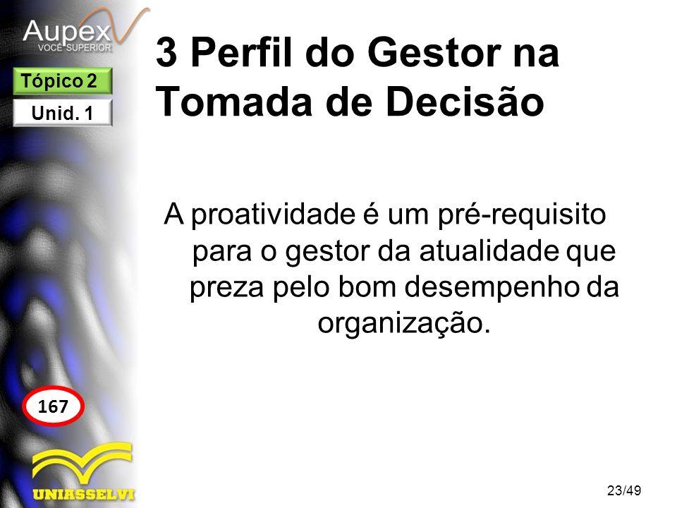 3 Perfil do Gestor na Tomada de Decisão A proatividade é um pré-requisito para o gestor da atualidade que preza pelo bom desempenho da organização. 23