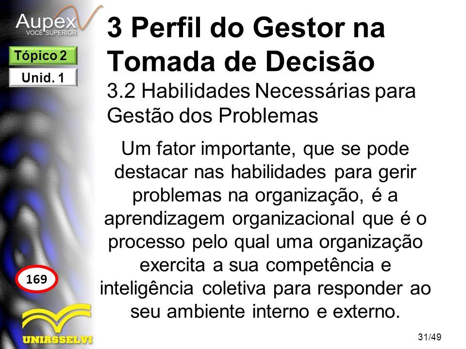 3 Perfil do Gestor na Tomada de Decisão 3.2 Habilidades Necessárias para Gestão dos Problemas Um fator importante, que se pode destacar nas habilidade